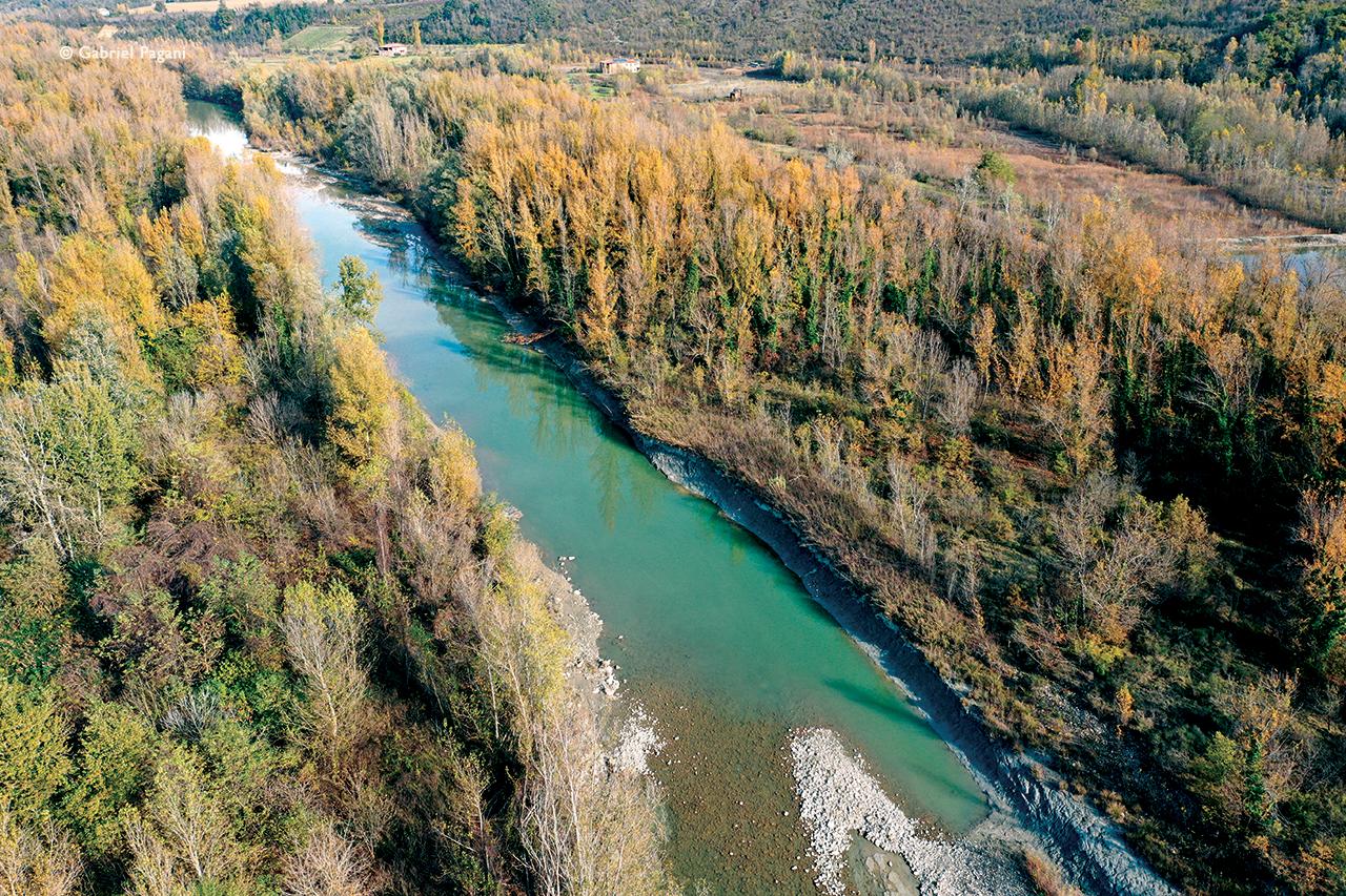 Foto da drone, casalecchio di reno, fiume, colori autunno